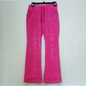 Pink Crushed Velvet Wide Leg Sweatpants
